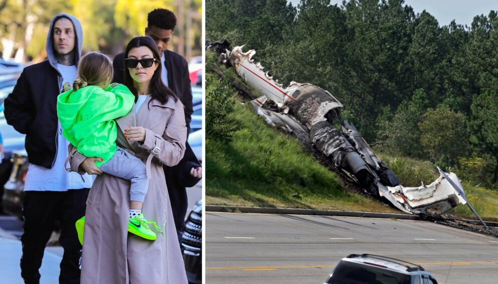 TRAGEDIE: I 2008 var Kourtney Kardashians nye kjæreste Travis Barker involvert i en fatal flyulykke. Foto: Backgrid / Brett Flashnick / AP / NTB