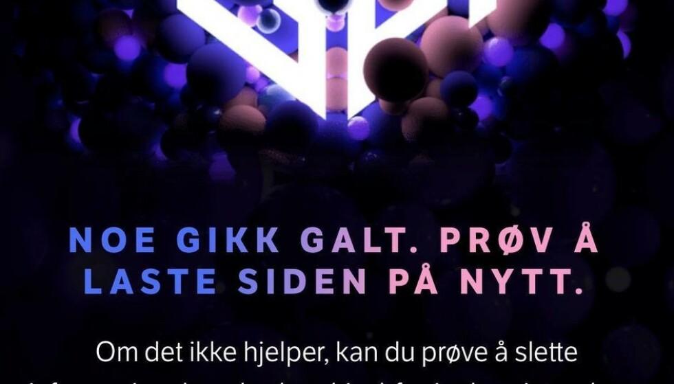 STEMMETRØBBEL: Flere har lørdag kveld slitt med å avgi stemme under MGP-finalen. Foto: Skjermdump