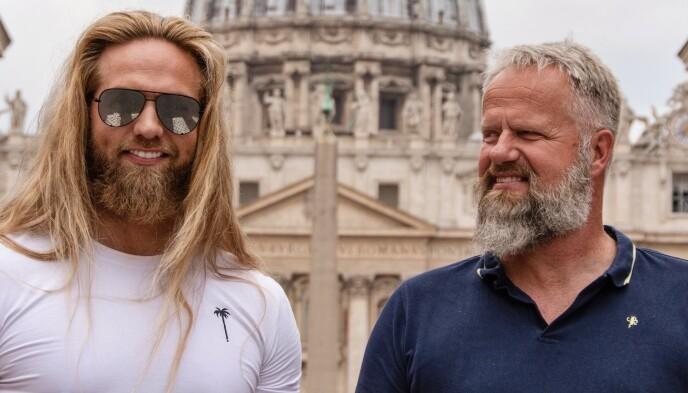 STOLT FAR: Matbergs pappa, Arne Johan Matberg, var ofte på plass i Roma da sønnen var med i og vant «Skal vi danse». Nå vant han også «Farmen kjendis». Foto: Privat
