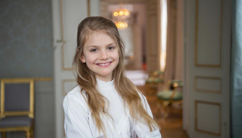 BURSDAG: 23. februar fyller prinsesse Estelle av Sverige ni år. Hun er det eldste barnet til kronprinsesse Victoria og prins Daniel. Foto: Kate Gabor / Det svenske hoffet