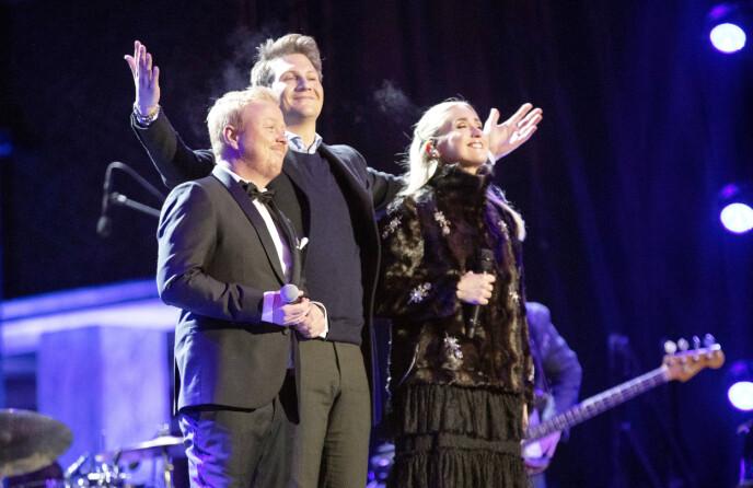 FEIRET FRED: Kurt Nilsen, Christel Alsos og Matoma (midten) var blant de norske artistene som sang under Nobels Fredsfest i 2018. Foto: NTB