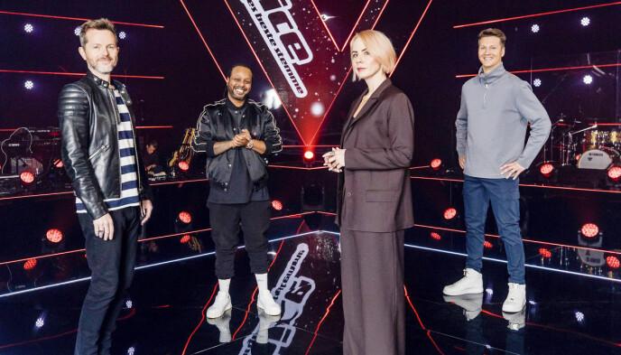 ÅRETS MENTORER: Årets mentorer er allerede godt i gang med å finne «The Voice». Fra venstre Espen Lind, Ina Wroldsen, Yosef Wolde-Mariam og Tom Stræte «Matoma» Lagergren. Foto: TV 2