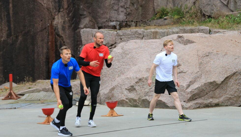 UTE: Magnus Midtbø ledet før siste øvelse, men måtte se seg slått av Håvard og Aksel. Foto: Sunniva Luca Veliz Pedersen, Rubicon TV/NRK