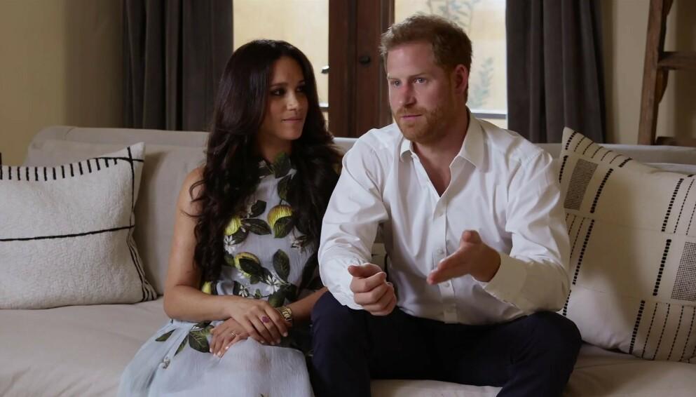 RØPER DE KJØNNET?: Den kongelige fansen spekulerer på kjønnet til hertuginne Meghan og prins Harrys kommende barn under en videosnutt i forbindelse med en opptreden med strømmetjenesten Spotify. Foto: Ruba / Backgrid UK / NTB