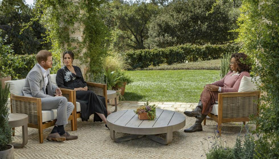 ETTERLENGTET INTERVJU: Hertugparet har visstnok en svært ærlig og ufiltrert samtale med Oprah Winfrey i det kommende intervjuet. Foto: Joe Pugliese/ Harpo Productions via AP/ NTB
