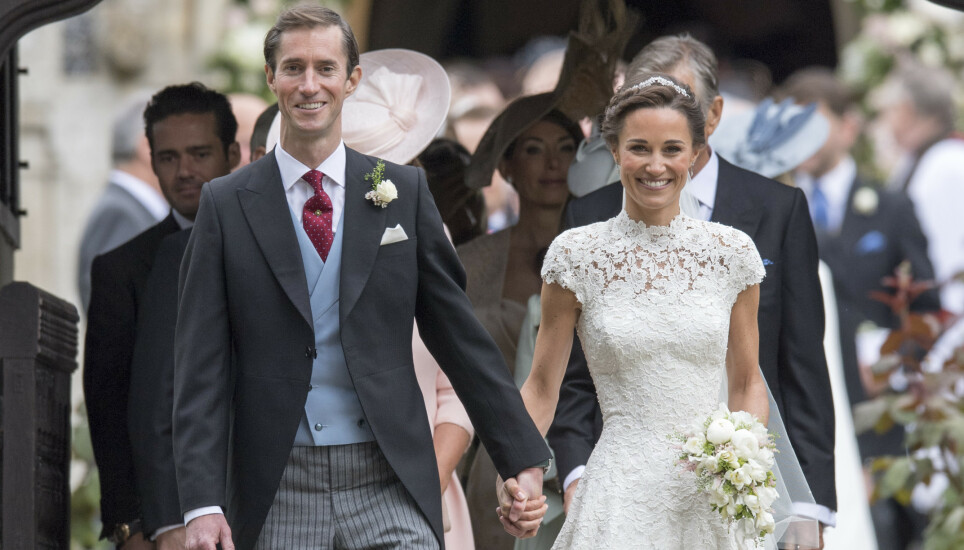 SNART TOBARNSFORELDRE: Pippa Middleton og ektemannen James Matthews venter nok et barn sammen. Her på bryllupsdagen sin i mai 2017. Foto: Pa Photos / NTB