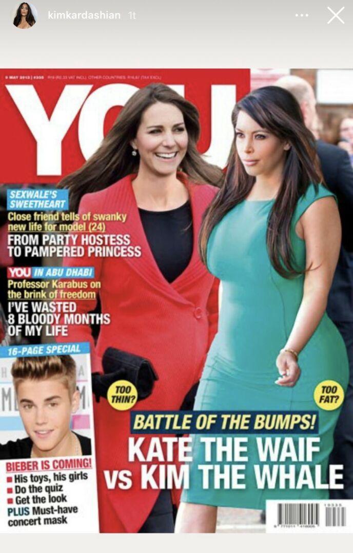 KONKURRANSE: Hertuginne Kate og Kim Kardashian var gravide samtidig, og ble ofte satt opp mot hverandre. Foto: Instagram / Kim Kardashian