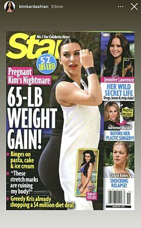 MARERITT: Flere tabloidmagasiner hevdet at Kims graviditet var et mareritt. Foto: Insatgram / Kim Kardashian