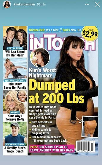 DUMPET: InTouch hevdet den gang at gravide Kim hadde blitt dumpet av Kanye West. Foto: Instagram / Kim Kardashian
