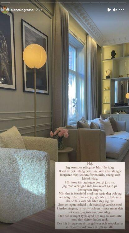 LOGGET AV: Bianca forklarte at hun ikke fikk energi på Instagram fredag og valgte å ta en pause. Foto: Skjermdump fra Instagram