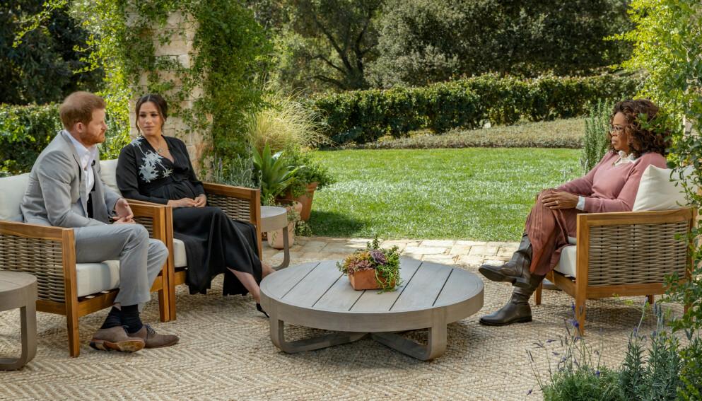 EKSKLUSIVT INTERVJU: Prins Harry og hertuginne Meghan stilte opp for Oprah Winfrey. Foto: Harpo Productions /Joe Pugliese/ REUTERS/ NTB