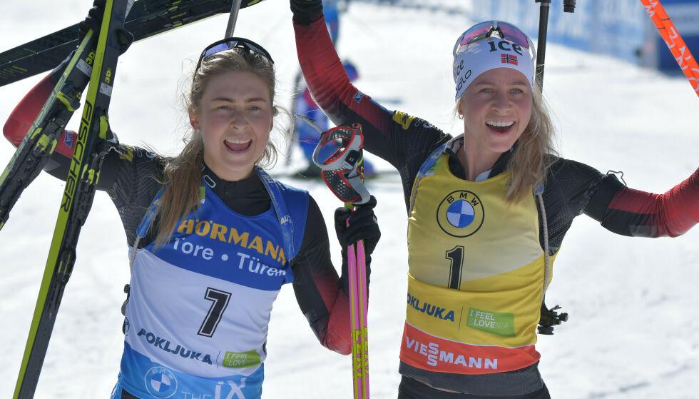 BOLIGKJØP: Ingrid Landmark Tandrevold (t.v.) har blitt huseier. Her avbildet med skiskytter-kollega Tiril Eckhoff. Foto: Pa Photos/ NTB