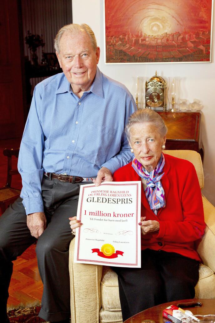 GAVMILDE: For åtte år siden ga prinsesse Ragnhild (1930–2012) og hennes nylig avdøde ektemann Erling Lorentzen én million kroner til et fond for barn med kreft i Norge. Hvert år deles «Gledesprisen» på 50 000 kroner ut til en familie med kreftsyke barn som ønsker å realisere en drøm eller gjøre noe hyggelig sammen. Foto: Morten Eik