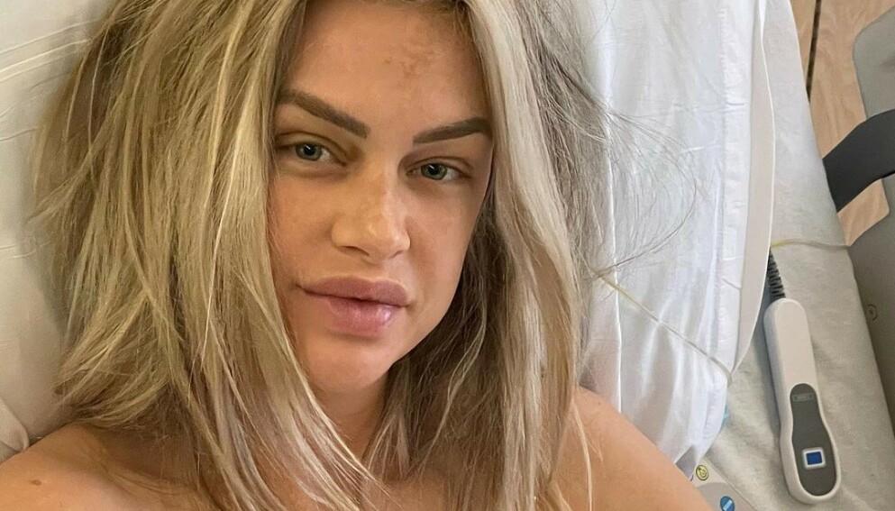 BLE MAMMA: «Vanderpump Rules»-stjernen Lala Kent avslører at hun er blitt mamma for første gang med et bilde fra sykehuset. Foto: Skjermdump fra Instagram