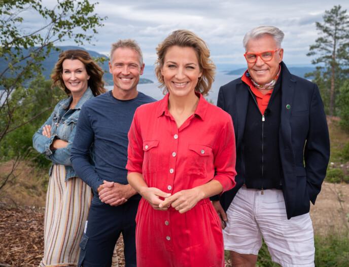 NY SESONG: Programleder Guri Solberg og eksperter Aina Sollie Steen, Lars Fossum og Finn Schøll er klare for en ny runde av seersuksessen. Foto: Espen Solli/TV 2