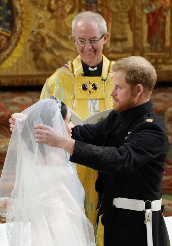 2018: Hertugparet av Sussex giftet seg i Windsor i 2018. Her med erkebiskopen av Canterbury, Justin Welby. Foto: REX / NTB