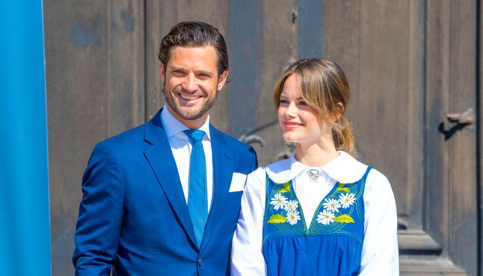 TREBARNSFORELDRE: Prins Carl Philip og prinsesse Sofia fikk fredag formiddag sin tredje sønn sammen. Foto: REX/ Shutterstock / NTB
