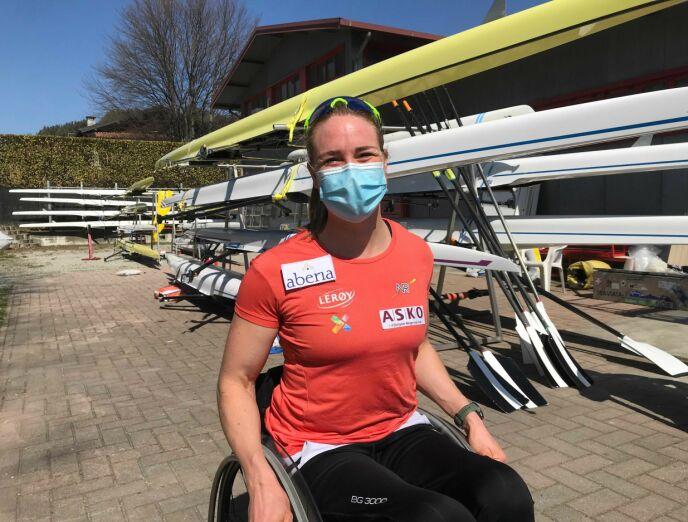 I ITALIA: Birgit Skarstein følger strenge smittevernsregler under oppholdet i utlandet. Foto: Privat