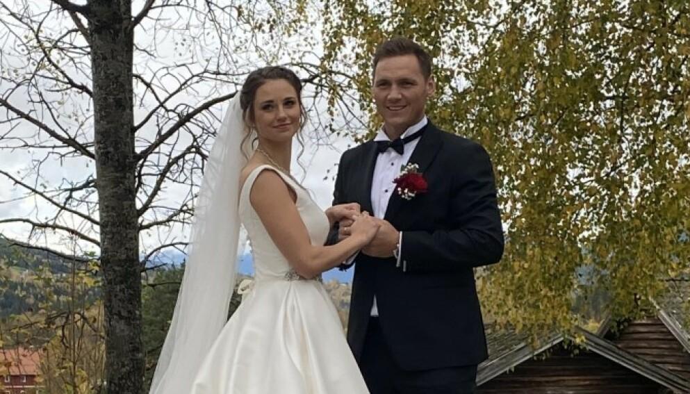 BABYLYKKE: Joakim Hykkerud og kona Camilla Groth venter barn. Her fra bryllupet i fjor. Foto: Privat