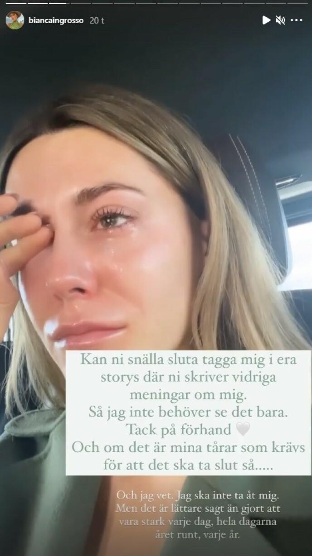 Lacrime bagnate: Bianca Ingrosso ha pubblicato questo messaggio sulla sua funzione Instagram Story.  Foto: screenshot di Instagram