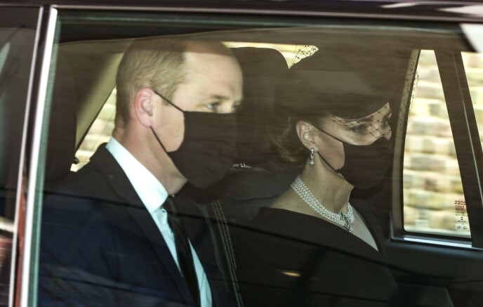 ANKOM SAMMEN: Prins William og hertuginne Kate kom sammen i bil til Windsor slott før avskjeden med prins Philip. Foto: Shutterstock