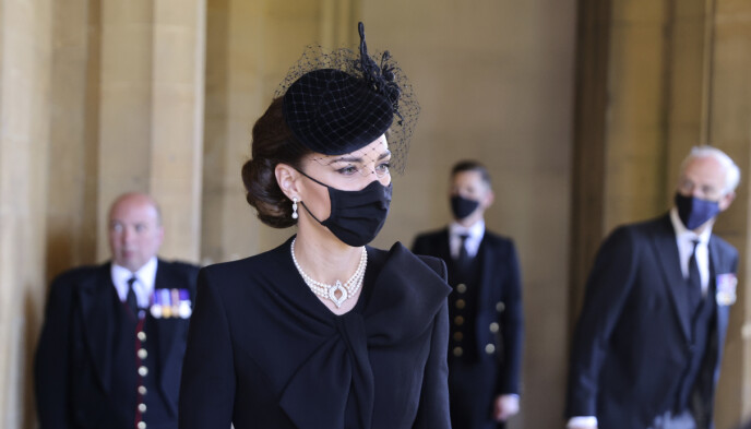TIL STEDE: Hertuginne Kate tok del i seremonien i St. Georges kapell. Foto: Chris Jackson / Chris Jackson / AP / NTB