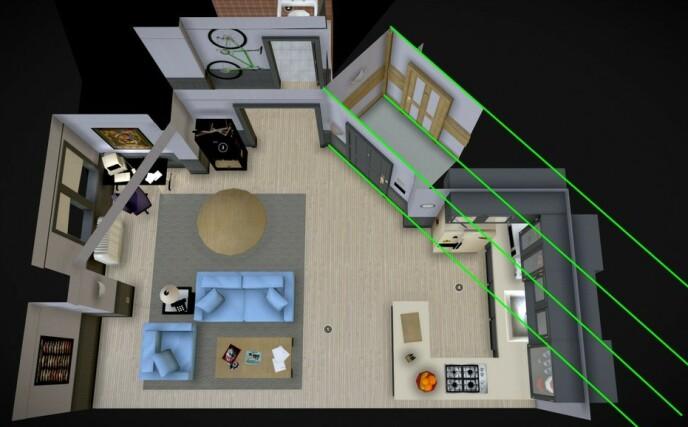 GIR IKKE MENING: En Reddit-bruker har lagt ut en 3D-modell av Jerrys leilighet og korridor i «Seinfeld», som viser feilen. Foto: Reddit / skjermdump.