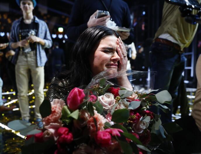 VANT MGP: Ulrikke Brandstorp jubler etter å ha vunnet finalen i «Melodi Grand Prix» i Trondheim spektrum. Foto: Tore Meek / NTB