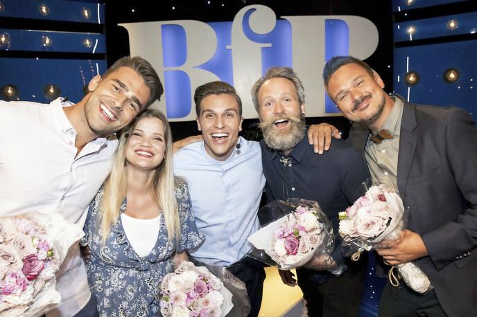 PÅ TV: Kim og Sandra Lyng sørget for herlig stemning på TV da de konkurrerte mot Adam Schjølberg og Tore Petterson i Atle Pettersens «Beat for Beat». Foto: NRK