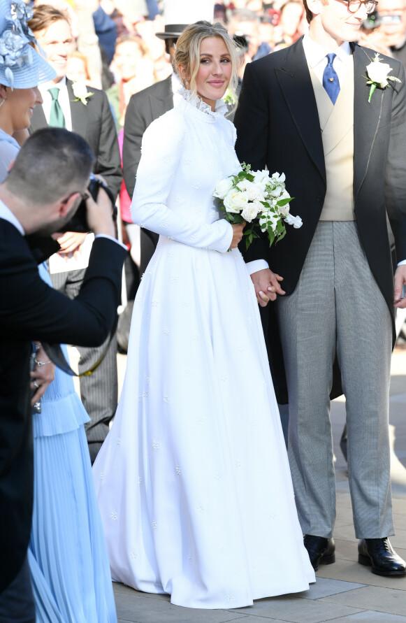 HVIT BRUD: Ellie Goulding var selv involvert i designet av sin egen brudekjole. Foto: Doug Peters / Pa Photos / NTB