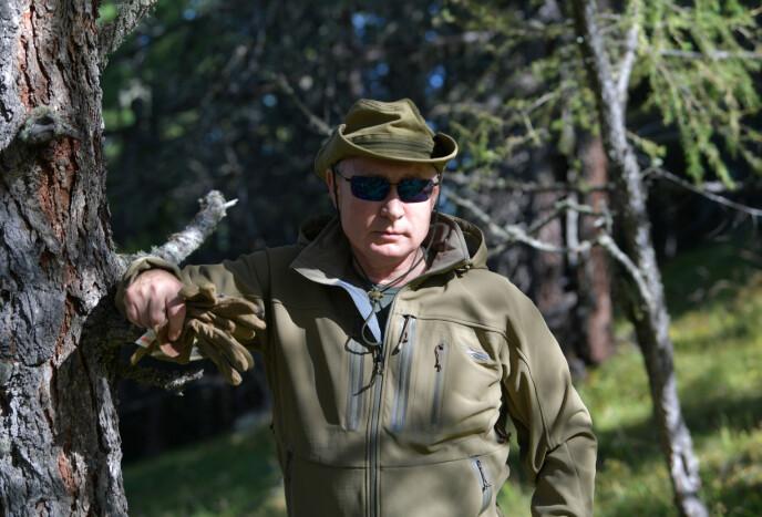 EKTE SPILLER?: Russlands president Vladimir Putin på tur i skogen i 2019. Kanskje for å gjemme seg for en stadig voksende sum av barnebidrag. Foto: Sputnik/NTB