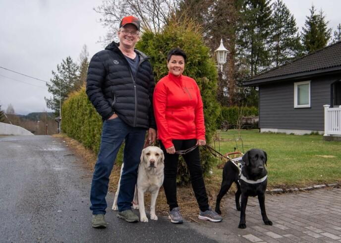 SMILER BREDT: Det gikk heldigvis bra, og Terje og kona Åse Line kan endelig smile igjen. Foto: Lars Eivind Bones / Dagbladet