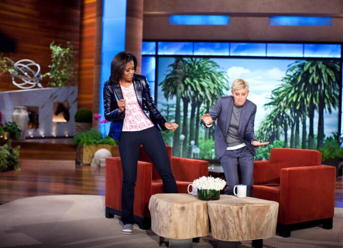 CELEBRE GJESTER: Gjennom årene har noen av verdens mest kjente mennesker gjestet talkshowet. Her med tidligere førstedame Michelle Obama. Foto: REX / NTB