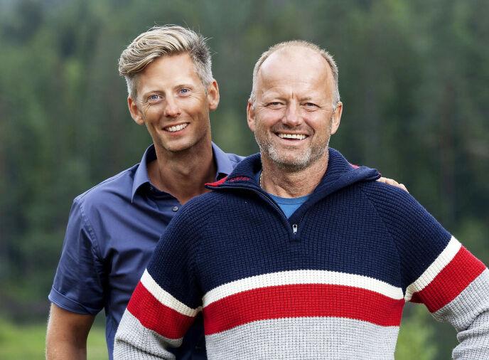 TV-PROFIL: Terje Leer sammen med daværende «Farmen»-programleder Gaute Grøtta Grav i 2019. Foto: Espen Solli/ TV 2