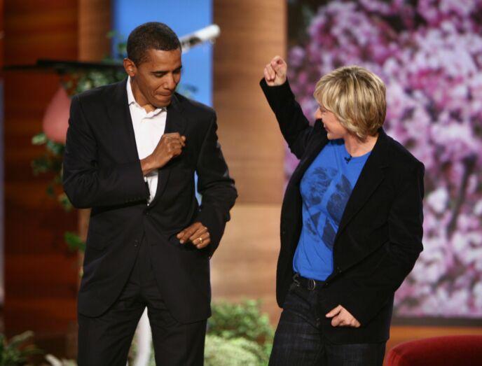 DANS: Før Barack Obama ble valgt til å bli USAs president, fikk han danse hos Ellen. Videoene gikk verden rundt. Foto: Nbc-Tv / Kobal / REX / NTB