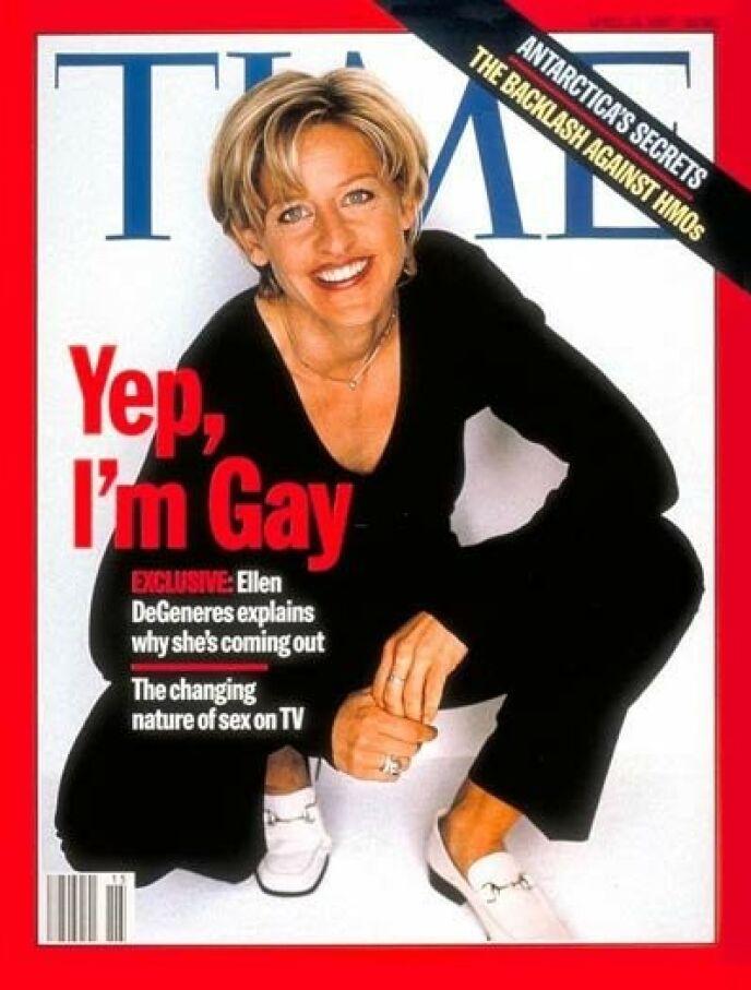 UT AV SKAPET: 14. april 1997 kom Ellen ut som lesbisk med denne forsiden av Time. Foto: Faksimile