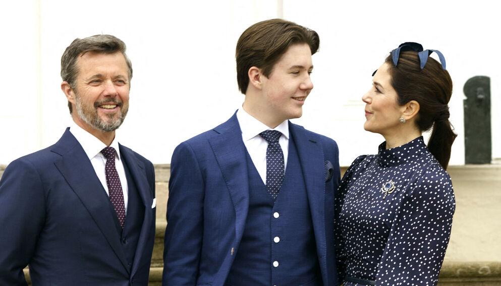 KONFIRMANT: Kronprins Frederik og kronprinsesse Marys eldste sønn, prins Christian, konfirmerte seg lørdag. Foto: Keld Navntoft/Ritzau Scanpix/AFP/NTB