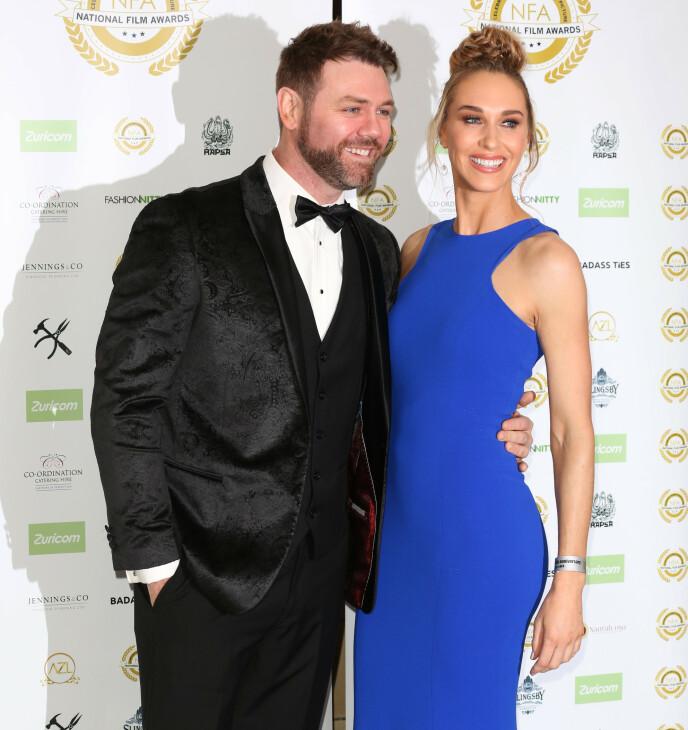 NYBAKTE FORELDRE: Brian McFadden og forloveden Danielle Parkinson har fått sitt første barn sammen. Foto: Brett D. Cove / SplashNews.com / NTB