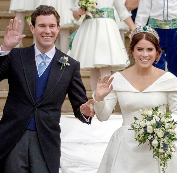 BRYLLUP: Prinsesse Eugenie og Jack Brooksbank giftet seg i St. George's Chapel i oktober 2018. Foto: Steve Parsons / Pool / REUTERS / File Photo / NTB
