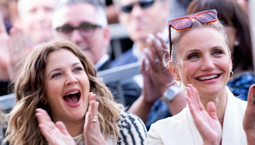 NÆRE VENNER: Drew Barrymore og Cameron Diaz har vært venner i ei årrekke. Her er de sammen i 2019. Foto: Valerie Macon / AFP / NTB