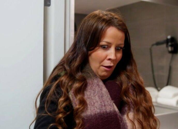 SJOKK: Linda Olstad fikk mildt sagt sjokk i denne ukens episode av «Luksusfellen». Foto: Skjermdump / TV3