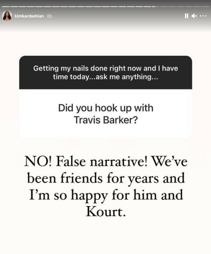 RUNGENDE NEI: Slik svarte Kim Kardashian på følgerens spørsmål. Foto: Skjermdump fra Instagram