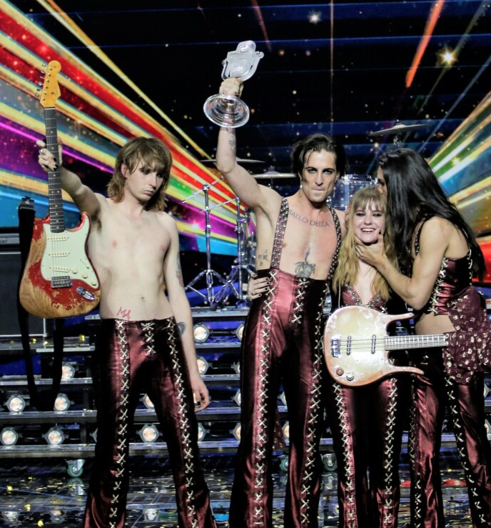 SEIRET: Måneskin gikk helt til topps i Eurovision. Foto: Peter Dejong / AP / NTB