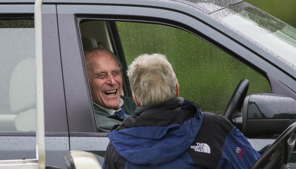 FORNØYD FYR: Prins Philip var svært glad i sine ansatte, og nå har tre av dem arvet millioner. Her avbildet i 2015. Foto: Photo by Rupert Hartley/REX/NTB