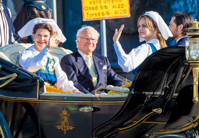 ANNERLEDES FEIRING: Kongeparet og prinseparet i forbindelse med feiringa i 2019. Foto: Splash News/NTB