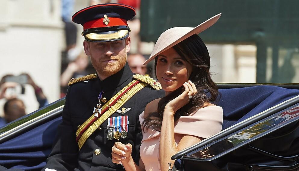 HERTUGPAR: Foreløpig har Meghan Markle og prins Harry de kongelige titlene hertug og hertuginne av Sussex. Her er de avbildet i 2018. Foto: Niklas Halle'n / AFP / NTB