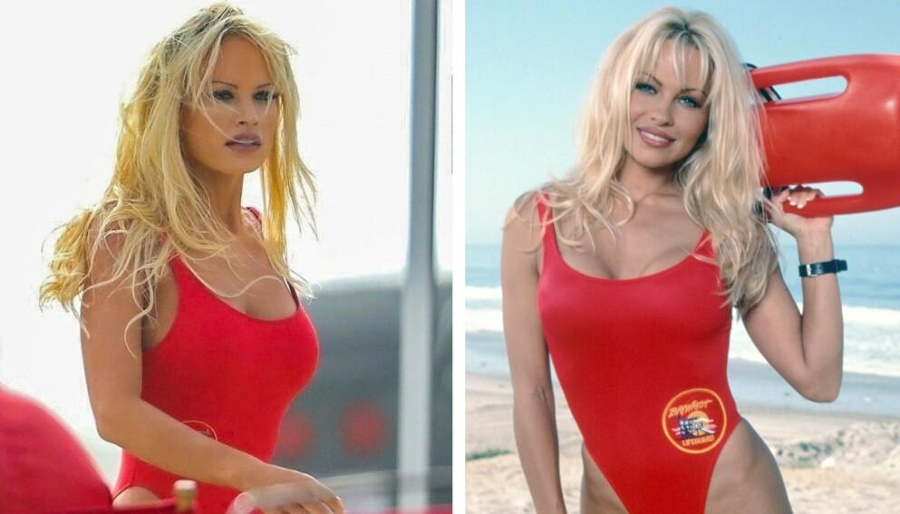 HVEM ER HVEM? Den ene er Lily James i rollen som Pamela Anderson. Den andre er den ekte Pamela. Foto: NTB