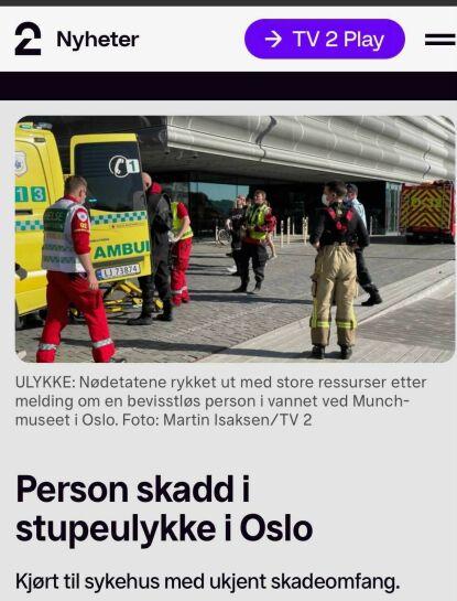 I NYHETENE: Det var TV 2 som først meldte om den alvorlige stupeulykken i havnebassenget i Oslo. Da var det foreløpig ikke kjent hvem den alvorlig skadde var. Faksimile: TV 2.no