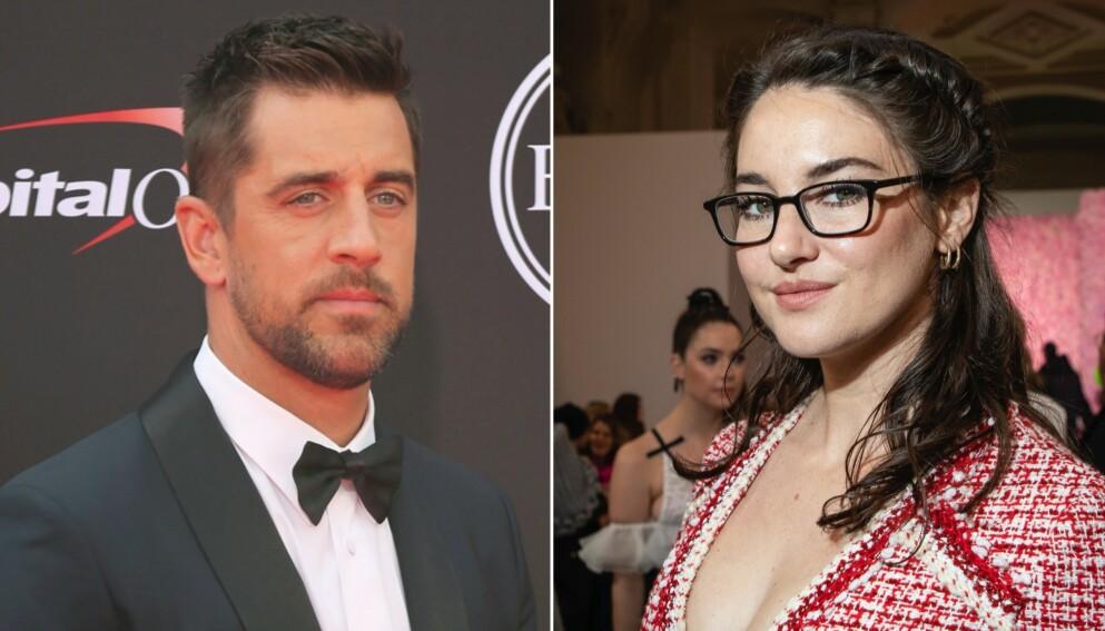 VIRVELVIND ROMANSE: Aaron Rodgers og Shailene Woodley er svært forelsket. Foto: Willy Sanjuan/Invision/AP/Vianney Le Caer/Invision/NTB