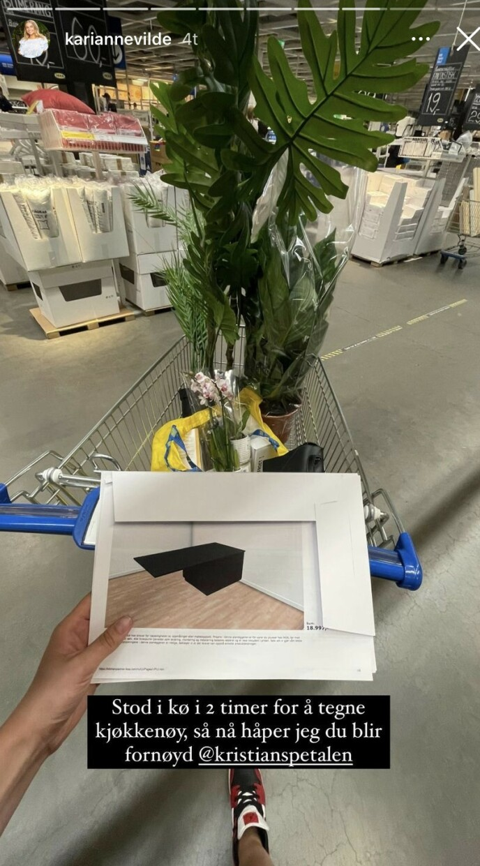 PÅ HANDLETUR: I går delte realityprofilen at hun hadde vært på IKEA for å tegne kjøkkenøy. Foto: Instagram / kariannevilde